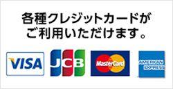 各種クレジットカードがご 利用いただけます。